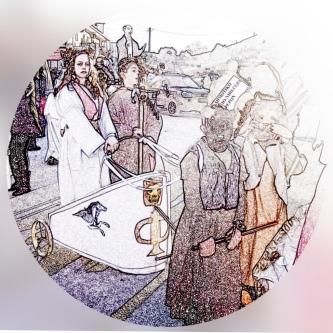 Ο Άδμητος επιστρέφει με την Άλκηστη στις Φερές, πάνω στο άρμα που το σέρνουν δυο άγρια θηρία